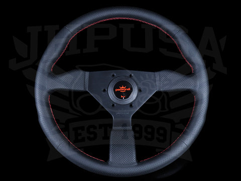 Personal Neo Grinta Steering Wheel - Black Perforated Leather / Red Stitch