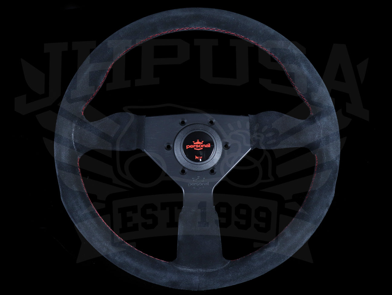 Personal Grinta 350mm Steering Wheel - Black Suede / Red Stitch