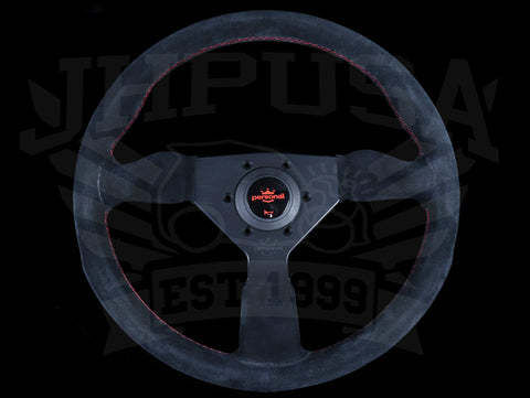 Personal Grinta 330mm Steering Wheel - Black Suede / Red Stitch