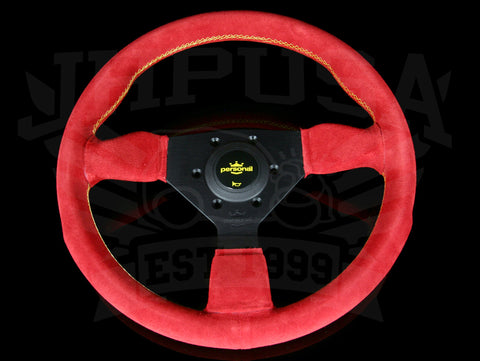 Personal Grinta 330mm Steering Wheel - Red Suede / Black Spokes / Yellow Stitch