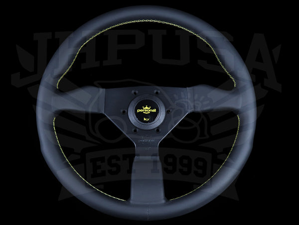 Personal Grinta 330mm Steering Wheel - Black Leather / Yellow Stitch