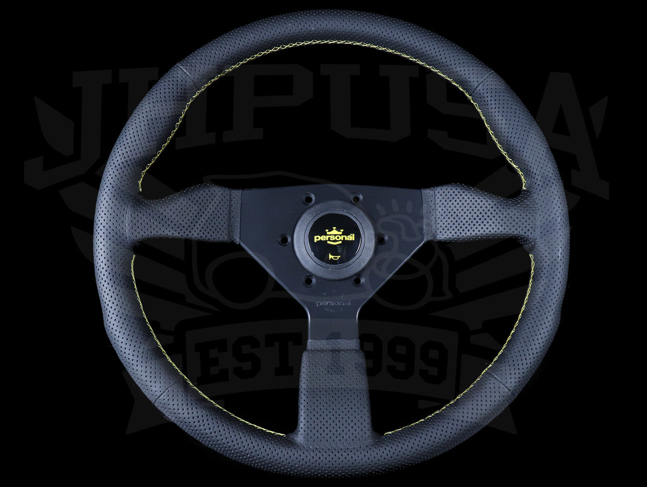 Personal Neo Grinta 350mm Steering Wheel - Black Perforated Leather / Yellow Stitch