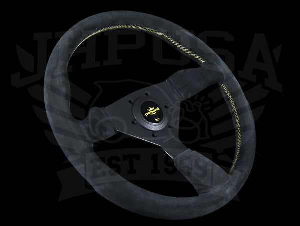 Personal Grinta 350mm Steering Wheel - Black Suede / Yellow Stitch & Logo