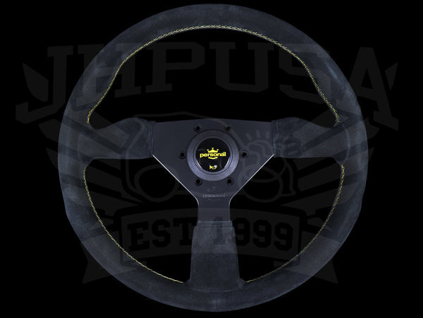 Personal Grinta 350mm Steering Wheel - Black Suede / Yellow Stitch