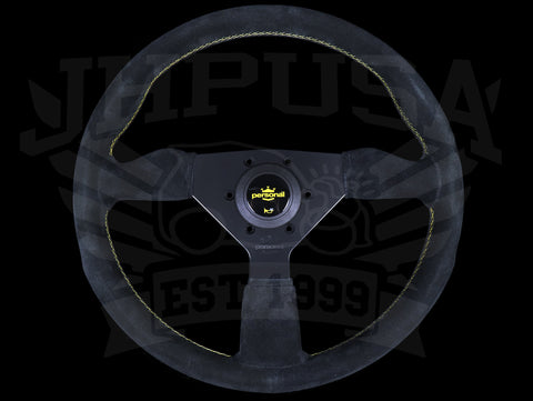 Personal Grinta 330mm Steering Wheel - Black Suede / Yellow Stitch