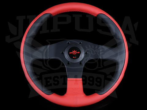 Personal New Racing Line 320mm Steering Wheel - Red / Black Leather Combo