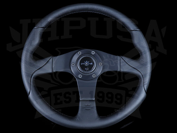 Personal Thunder 350mm Steering Wheel - Black Leather / Silver Horn Button