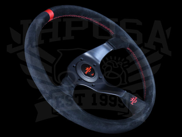 Personal Trophy 350mm Steering Wheel - Black Suede / Red Stitch