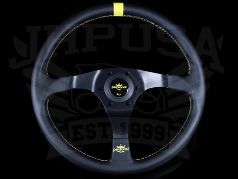 Personal Trophy 350mm Steering Wheel - Black Leather / Yellow Stitch