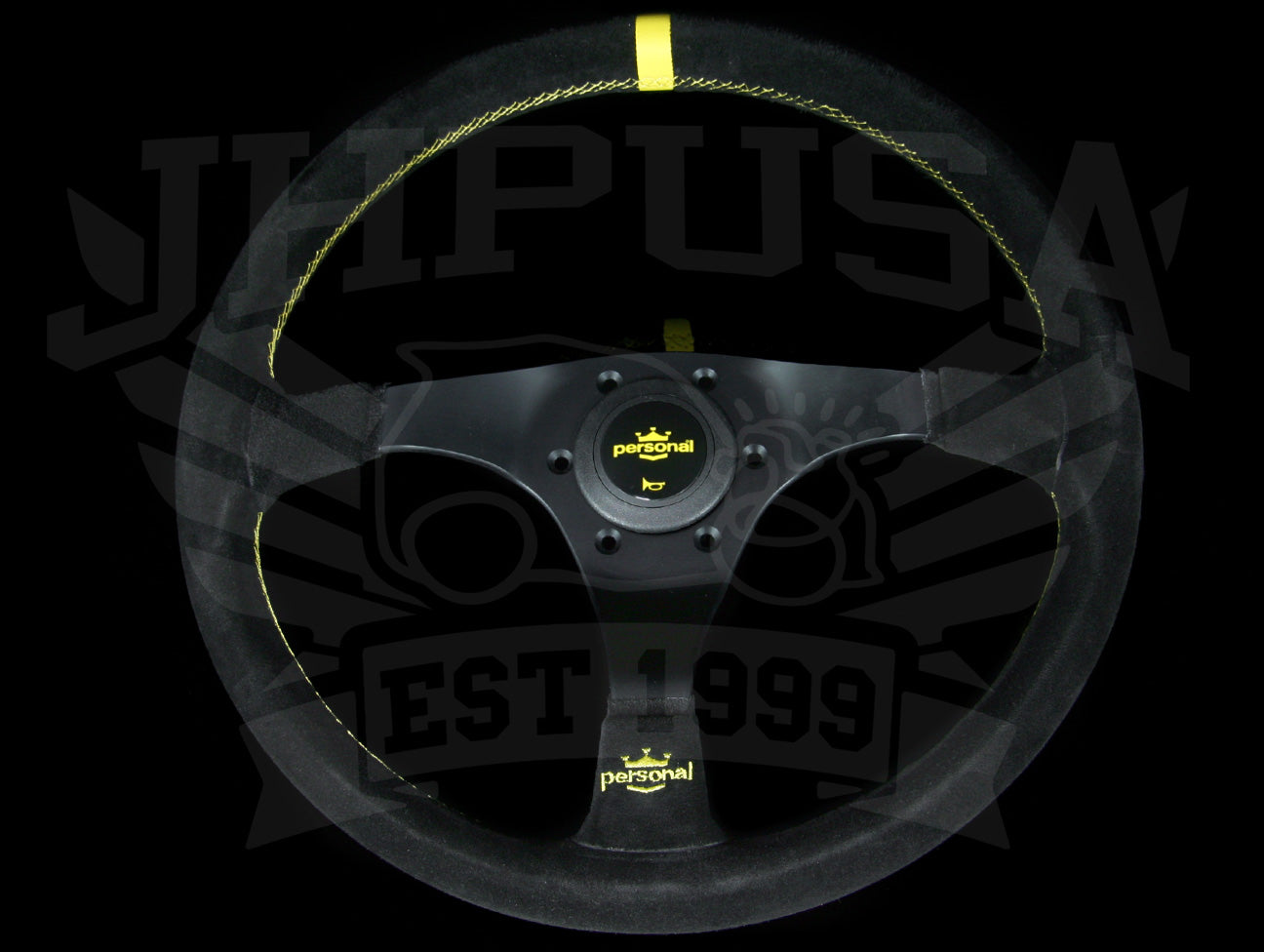Personal Trophy 350mm Steering Wheel - Black Suede / Yellow Stitch