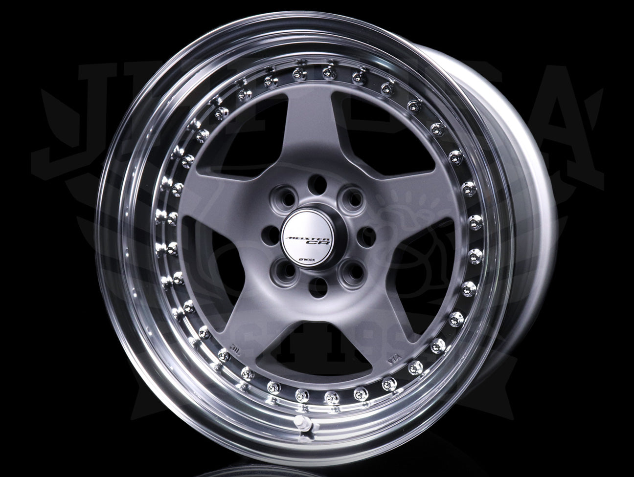 Work Meister CR 01 3-Piece Wheels - Gunmetal w/Polish Lip 15x8 / 4x100