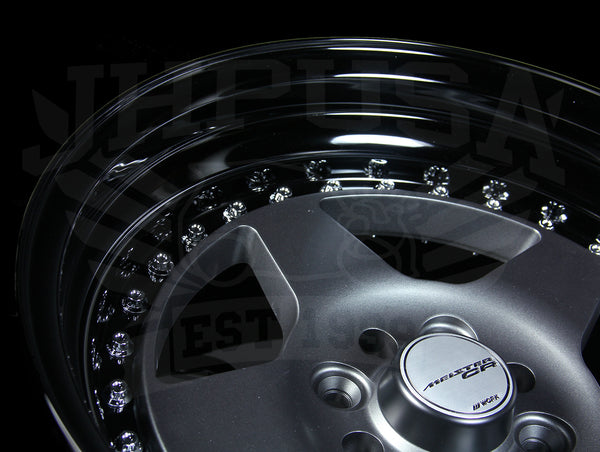 Work Meister CR 01 3-Piece Wheel - Gunmetal w/Black Lip 15x8 / 4x100