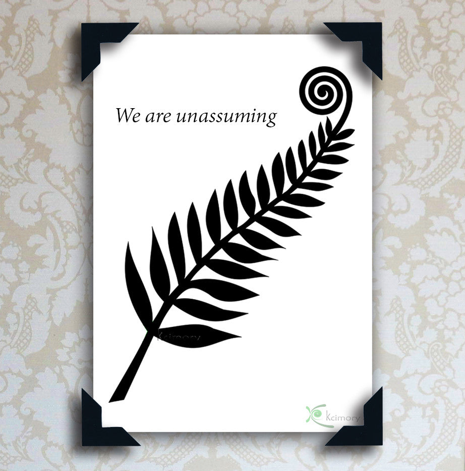 Art Print - Black & White Series - Black Fern with Koru Frond