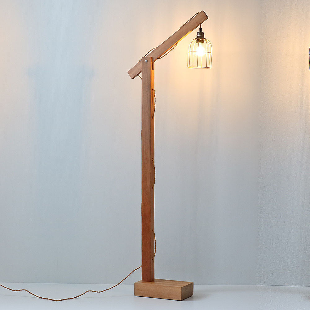 Recycled Wood Hanging LED Floor Lamp - Rimu