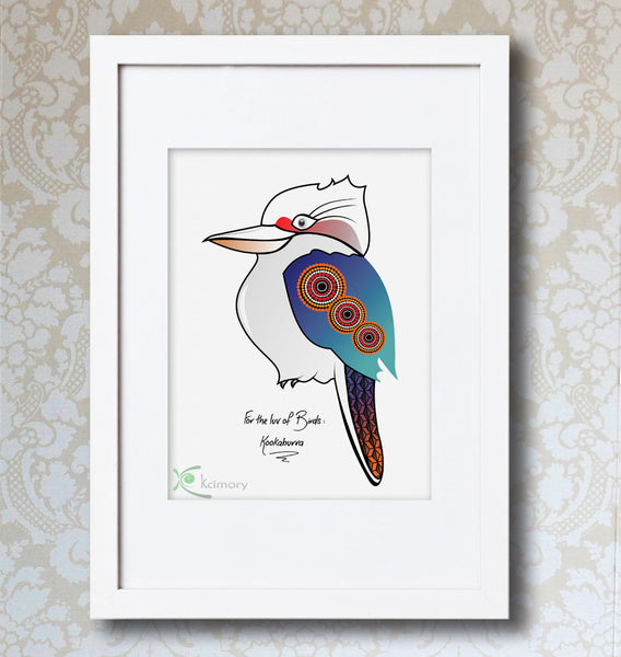 Art Print - For the luv of Birds - Kookaburra Bird Print