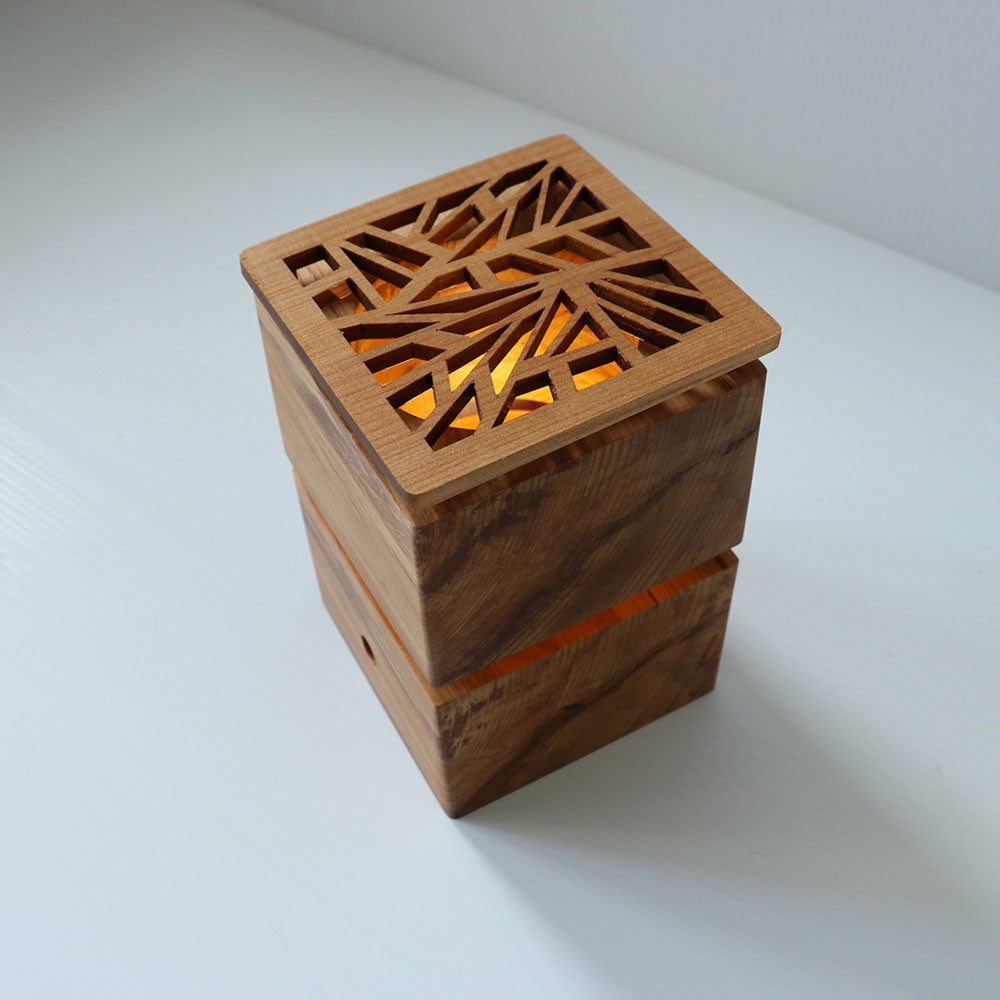 Recycled Wood LED Lantern Sensor Lamp - Small
