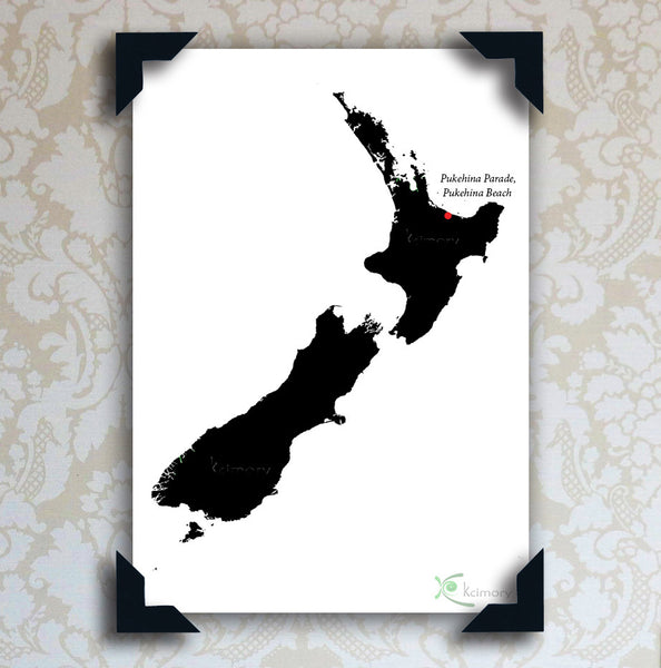 Art Print - Black & White Series - Map of New Zealand