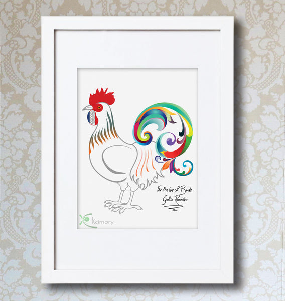 Art Print - For the luv of Birds - Gallic Rooster Bird Print