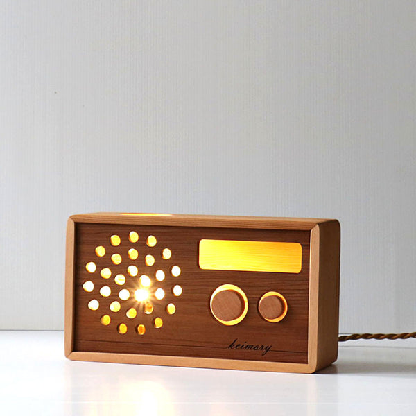 Retro Radio Light - Wooden LED Lamp - Cedar