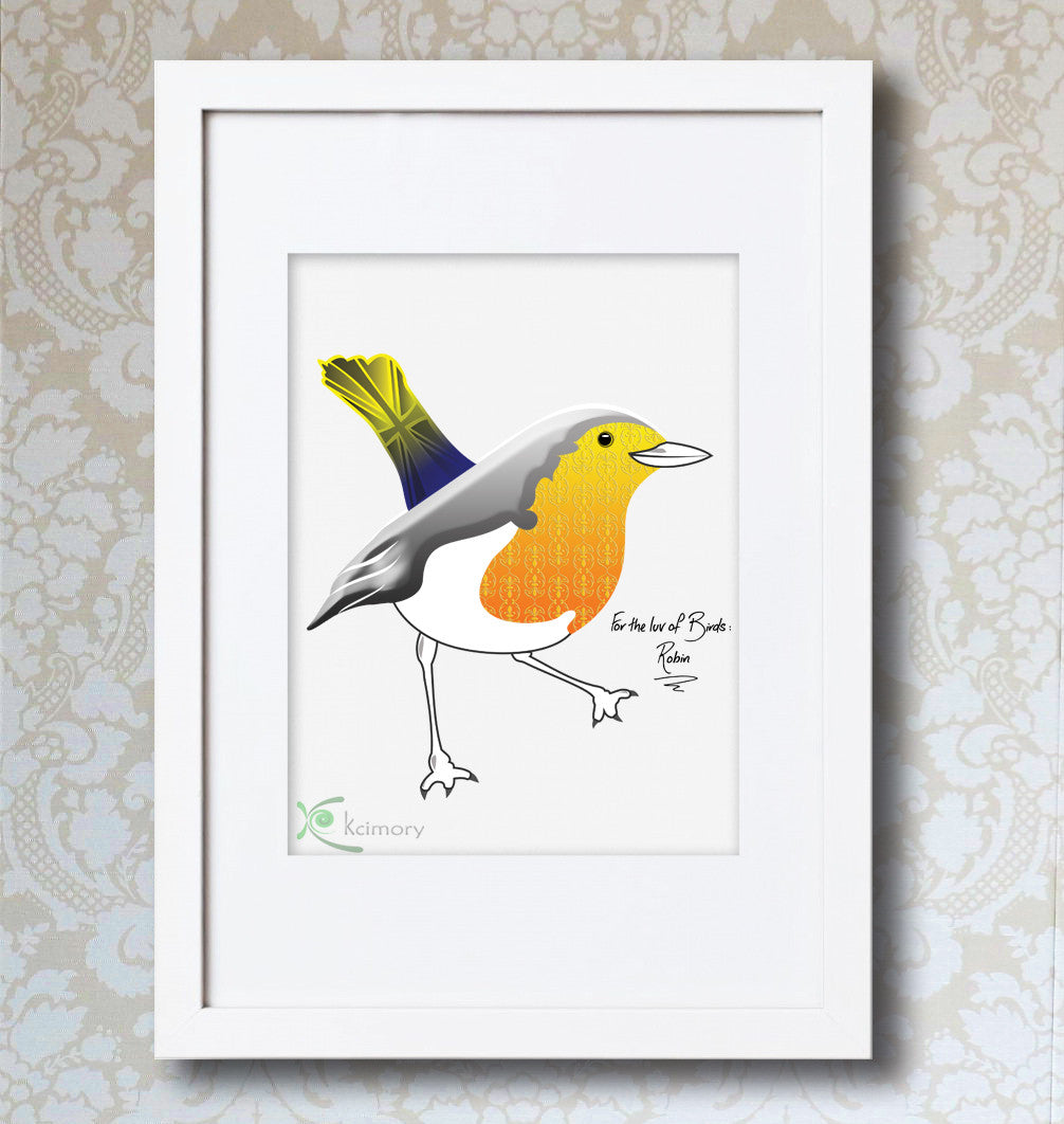 Art Print - For the luv of Birds - Robin Bird Print