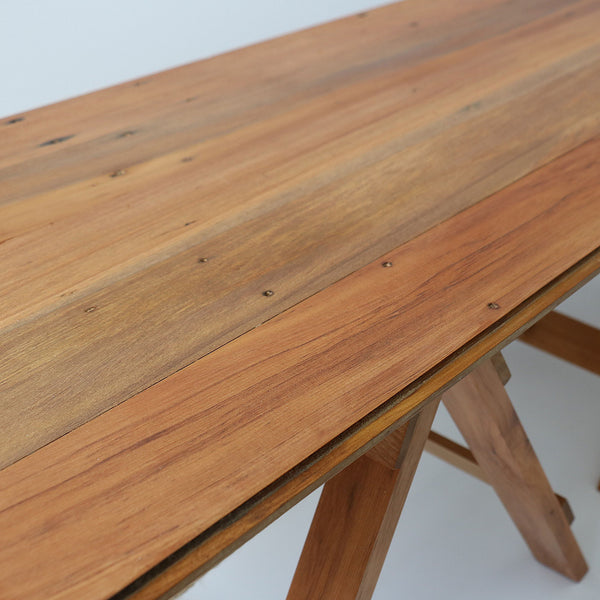 Recycled wood trestle table coffee table rimu for Reusable wood
