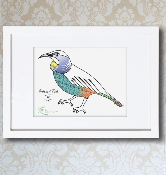 Art Print - For the luv of Birds - Tui Bird Print