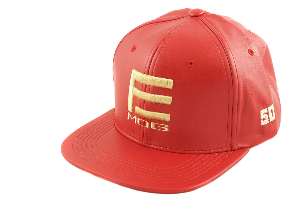 EMOB LEATHER RED GOLD 5-PANEL SNAPBACK