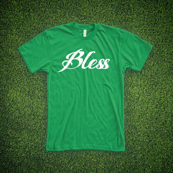 RIEJUNIO KELLY GREEN BLESS TEE
