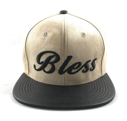 Bless beige & black suede leather snapback