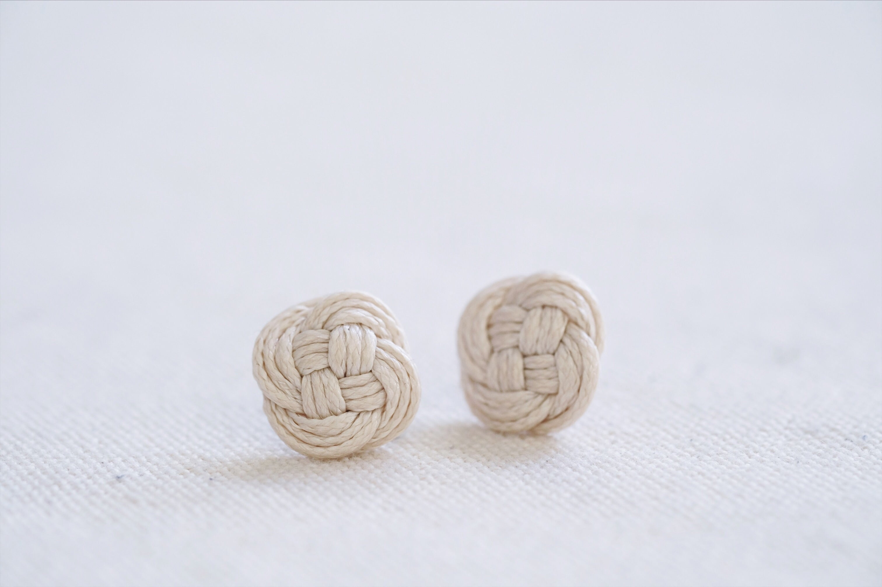 Double Coin Ear Studs - Grant Beige