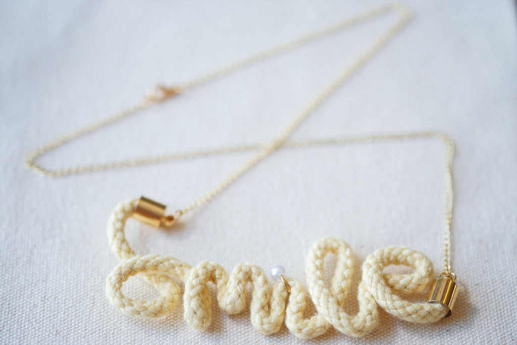 Crocheted Word Necklace - Smile
