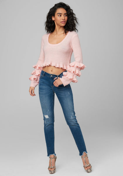 MATI RUFFLE SLEEVE SWEATER LONG SLEEVE SWEATERS - bebe Arabia