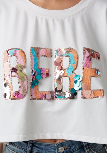 SEQUIN LOGO CROP TOP Fashion Tees - bebe Arabia