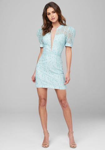 TASSELED LACE PLUNGE DRESS