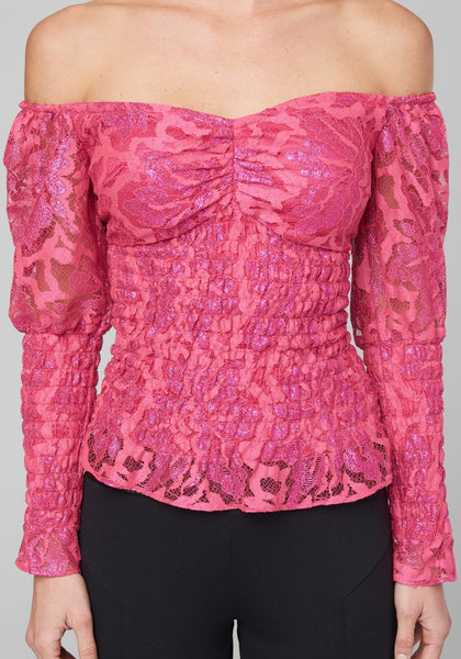 SMOCKED LACE BLOUSE LONG SLEEVE WOV TOP - bebe Arabia