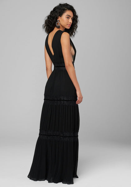PLEATED SHEER PLUNGE GOWN