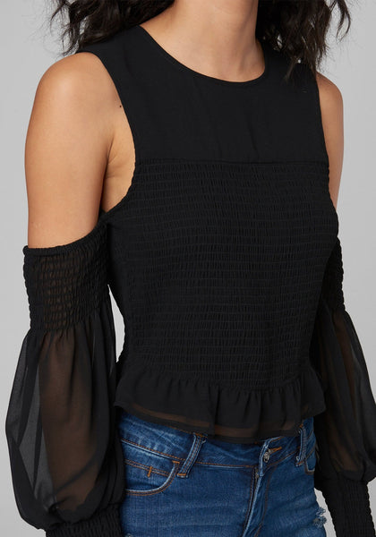 SMOCKED COLD SHOULDER TOP LONG SLEEVE KNIT TOP - bebe Arabia