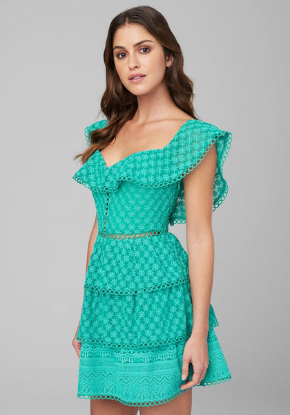 EMBROIDERED TIERED DRESS - bebe Arabia