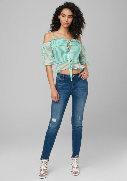 FRONT LACE UP TOP Short Sleeve Wov Top - bebe Arabia
