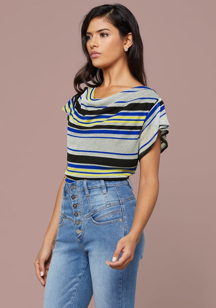 BRELYN STRIPED COWL TOP - bebe Arabia
