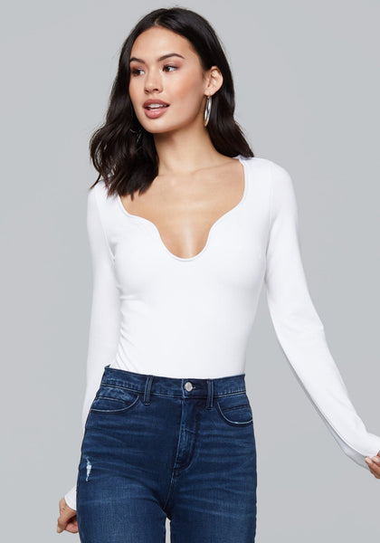 ALICE BODYSUIT LONG SLEEVE KNIT TOP - bebe Arabia