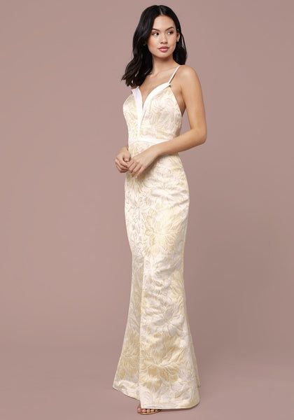 PLUNGE NECK MERMAID GOWN Occasion Dresses - bebe Arabia