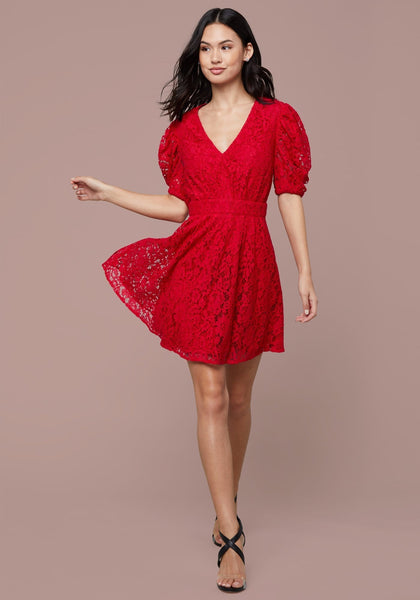 2100256c11 ... PUFF SLEEVE LACE MINI DRESS - bebe Arabia ...