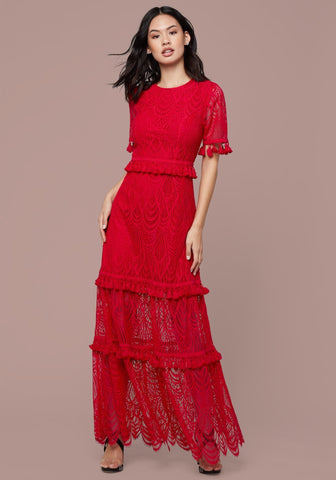 LACE RUFFLED MIDI DRESS