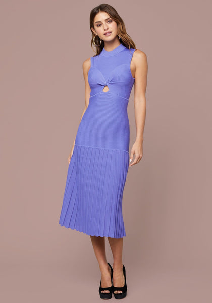 GIOIA RIBBED PLEATED DRESS - bebe Arabia