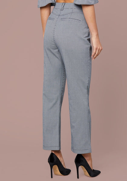 MICRO CHECK CROP PANTS - bebe Arabia
