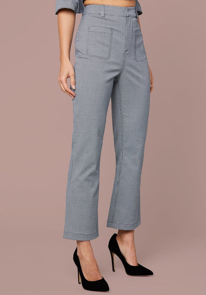 MICRO CHECK CROP PANTS Pants - bebe Arabia