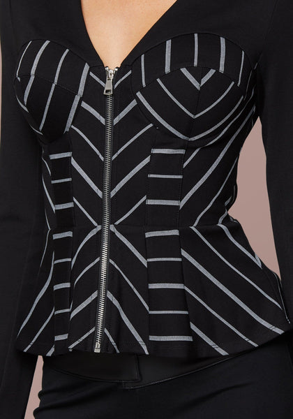 PINSTRIPE BUSTIER JACKET Suiting Jackets - bebe Arabia
