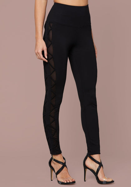 ESME MESH LACE UP LEGGING Leggings - bebe Arabia