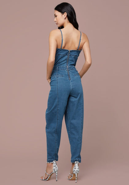 DENIM BUSTIER JUMPSUIT - bebe Arabia